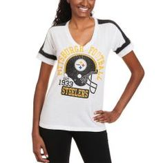 Pittsburgh Steelers Women s Fifth and Ocean White Tri-blend Helmet T-Shirt  Pittsburgh Steelers ac75c219e