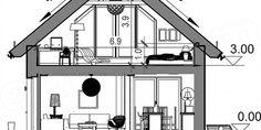 Proiect casa mica cu mansarda de 115 mp + fotografii cu interiorul | CasaPost.ro Floor Plans, Interior, House, Home Decor, Houses, Decoration Home, Indoor, Home, Room Decor