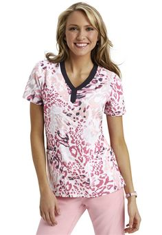 Healing Hands In The Wild notch neck print scrub top. - Scrubs and Beyond