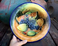 Vintage Mexican Pottery Decorative Bowl with Fruit Theme, Guanajuato Mexico Plate for Gallery Wall