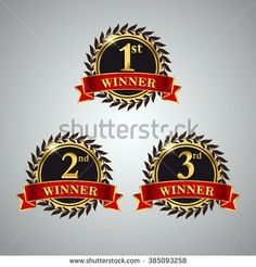 Golden Laurel wreath awards with red ribbons sets. First, second and third winner. Award golden label. Vector illustration. - stock vector