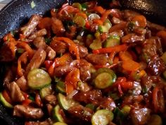 Kung Pao Chicken, Wok, Food And Drink, Meat, Ethnic Recipes, Red Peppers, Cooking, Recipies