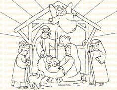 Nativity Coloring Page Printable Nativity Scene by CustomizableArt