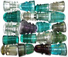 Antique glass insulators.
