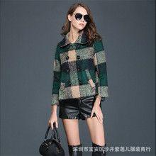Áo khoác dạ nữ dài tay, họa tiết kẻ caro trẻ trung, phong cách Hàn