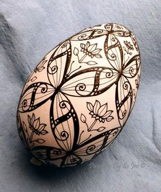 WIP - Butterflies Turkey Egg Pysanka Pysanky Ukrainian Easter Egg Batik Art by So Jeo