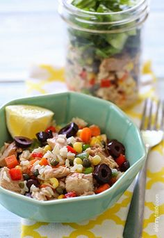 This healthy tuna and brown rice salad is perfect to make ahead for lunch for the week!