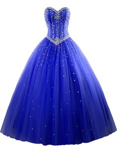 AIJIAYI Women's Sweetheart Ball Gown Beads Tulle Prom Quinceanera Dresses Royal Blue US Size 4. Fabric:Tulle with Beads and Crystals. Silhouette:Sweetheart, Ball Gown, Sleeveless, Floor Length. Custom made process (from the date we receive your payment and measurements) will take about 1-2 weeks.The the delivery time is about 10 days. the total time is about 25 days. Notice:Before order, Please refer to OUR Size Chart and measuring guide at the LEFT. Suitable for prom, ball, wedding…