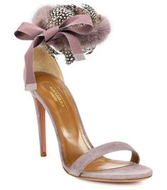 Iris fur & feather-trimmed suede d'orsay strappy sandals by Aquazzura. Fluffy mink and wispy feathers at the back of a graceful satin sandal ensure its entrance-making ...