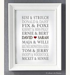 Liebevoll designter Kunstdruck in **DIN A4 Format** auf hochwertigem Künstler-Strukturpapier z.B als Geschenk zur Hochzeit, zum Hochzeitstag, zur Verlobung, zum Jahrestag, Valentinstag, zu...