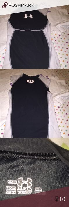 Under Armor light grey and black tank. Youth tank polyester. Good condition Under Armour Shirts & Tops Tank Tops