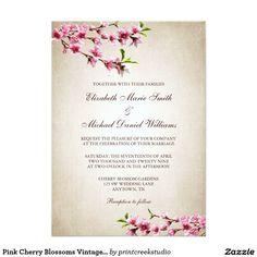 Pink Cherry Blossoms Vintage Tan Wedding