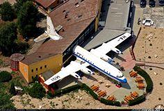 A Malev Ilyushin Il-18D operating as a restaurant in Abda, Hungarian village near Gyor