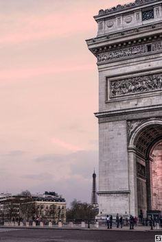 Sunset in Paris. Arc de Triomphe and Eiffel Tower in Paris. Wanderlust places to travel and visit in Europe.