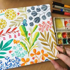 I moved to a table by the window when it became available, so I'm loving the lighting! Onto the next page now... . #handbookwatercolorjournal #doodles #makingupflora #flora #watercolor #painting #flowers #leavesandberries