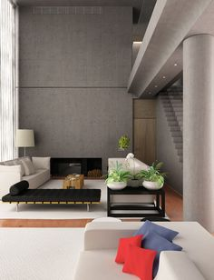 modern living room with cement and wood