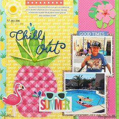 @pebblesinc layout using their Sunshiny Days and Fun In The Sun collections . How I long for Summer!! #pebblesinc #madewithpebbles #pebblessunshinydays #pebblesincdt #scrapbooking #scrapbooklayout #ilovepineapples #papercraft #fringescissors