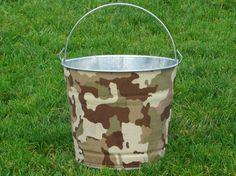 Drink Bucket Galvanized Metal Olive Camouflage. $28.00, via Etsy.