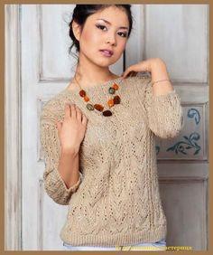 Кофточка  http://woman7.ru/  http://woman7.ru/  Пуловер  Модный пуловер связан спицами из пряжи оранжевого цвета.
