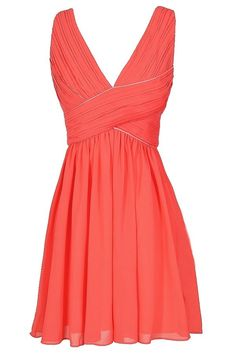 Criss Cross The Line Chiffon Designer Dress in Coral  www.lilyboutique.com
