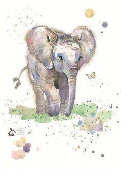 Baby Elephant by Jane Crowther, Bug Art Animal Paintings, Animal Drawings, Cute Drawings, Elephant Love, Elephant Art, Elephant Design, Baby Elephant Drawing, Watercolor Animals, Watercolor Paintings