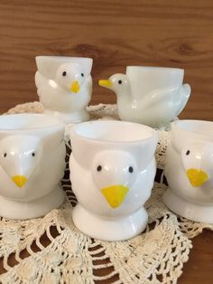 A personal favorite from my Etsy shop https://www.etsy.com/listing/266820604/milk-glass-egg-cups-set-of-5-made-in