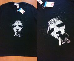 """Bury me in smoke"" handpainted t-shirt, 100% black cotton,size: XL man. Michele's commission."