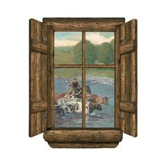 Cattle Drive Log Window Wall Graphic