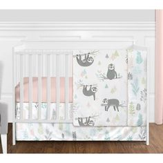 Shop for Sweet Jojo Designs Pink Grey Jungle Sloth Leaf Girl Nursery Crib Bedding Set - Blush Turquoise Green Tropical Rainforest. Get free delivery On EVERYTHING* Overstock - Your Online Baby Bedding Shop! Baby Girl Bedding Sets, Crib Sets, Crib Bedding Sets, Grey Bedding, Crib Bedding For Girls, Blush And Grey, Pink Grey, Blush Pink, Nursery Crib