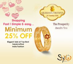 #AkshayaTritiya Special Deal of necklace sets, rings, pendant sets, wedding jewelry, hand watches, kada, earrings.. Upto 40% Discount + Extra 25% ▶http://www.styyo.com/exclusive-jewellery