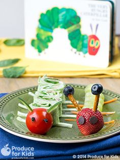 The Very Healthy Caterpillar - Kids will get a kick out of these fruit & veggies caterpillar snacks! Perfect for a hands-on after school snack or a fun lunchbox idea. #nutfree #eggfree #kids #recipe #produceforkids #healthy