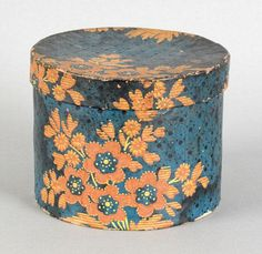 225: Wallpaper covered box, mid 19th c., with orange : Lot 225
