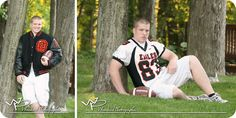 Letterman jacket, jersey, and football featured in these memorable senior portraits at a park