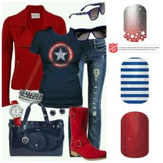 Captain America Jamberry Nails
