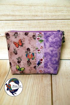 Pink makeup bag, flower cotton cosmetic bag, roses and butterflies cosmetic bag