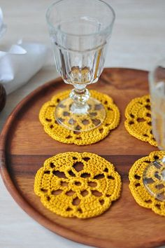 Coasters set of 2 crochet lace mustard yellow door woolnwhiteHandmade set of 2 crocheted coasters. Hand crocheted from cotton; hand washed and starched with great care so it will not lose its shape.need to ask grammie to make these for me!Betcha I co Crochet Coaster Pattern, Crochet Motif, Crochet Designs, Crochet Doilies, Crochet Flowers, Hand Crochet, Knit Crochet, Crochet Patterns, Crochet Tablecloth