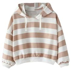 Womens Casual Striped Hooded Short Pullover Sweatshirt Khaki (94.285 COP) ❤ liked on Polyvore featuring tops, hoodies, khaki, sweatshirt hoodies, sweatshirt pullover, sweater pullover, pullover sweatshirts and brown tops