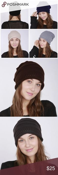 Knitted Beanie Cotton/Polyester Blend soft knitted beanie, five colors available, navy blue, coffee, beige, black, light grey, dark grey Accessories Hats