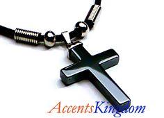 black men cross necklaces   Men's Stylish Black Hematite Cross Pendant Necklace   eBay