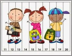 Back to School Counting Puzzles - Set 1 Counting Puzzles, Number Puzzles, Maths Puzzles, Math Numbers, Preschool Math, Activities For Kids, Kindergarten, Montessori Practical Life, Math Work