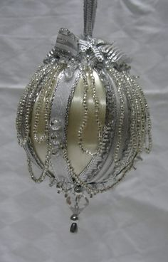 silve beads and ribbon handmade christmas ornaments by design ooak - White Christmas Balls
