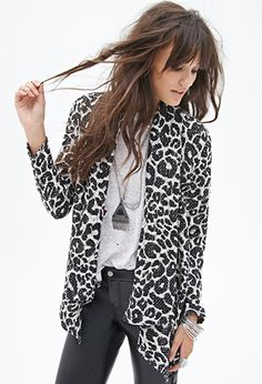 Open-Front Leopard Cardigan | FOREVER 21 - 2000085066