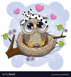 Illustration about Cute Cartoon Owl in a nest on a branch. Illustration of mothers, beautiful, congratulations - 121051363 Cartoon Cartoon, Cute Owl Cartoon, Unicorn Pictures, Owl Pictures, Animal Drawings, Cute Drawings, Owl Quotes, Branch Vector, Owl Artwork
