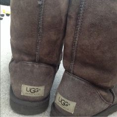 Chocolate Classic Ugg Boots Women's size 9 classic short chocolate brown UGGS. They've been worn for one season and I took great care of them, and used the UGG waterproof spray on them. One minor stain, otherwise they're in wonderful condition. UGG Shoes Winter & Rain Boots