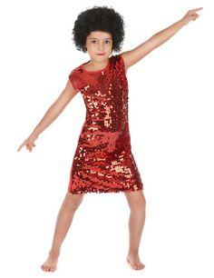 Déguisement disco fille rouge à paillettes   Ce déguisement disco pour  fille se compose d  e39cbffdbf94