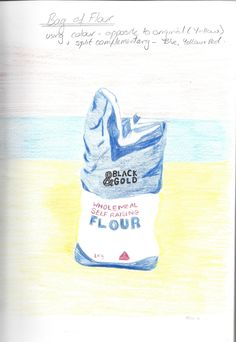 Assignment 3, Part 3, Flour Bag in coloured pencil. Colours used are opposite in the colour wheel to original colour and split complementary - Blue, Red and Yellow.