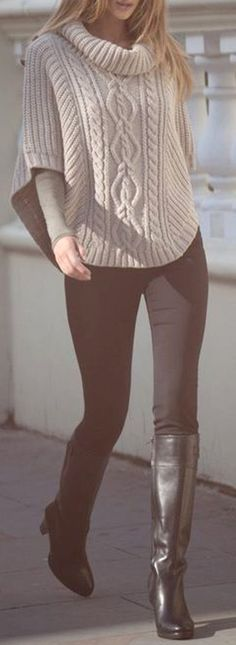 Classy Dressy Winter Outfit Ideas 2017 for Women - Sweater with Leggings & Boots - www.Poshiroo.com