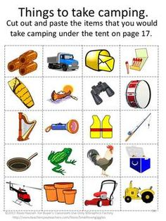 Camping Fun Cut and Paste Worksheets for pre-K.K and Special Education. Summer is the time for relaxing. Camping, fishing, hiking and swimming are all fun ways to relax. Children can have fun reliving those moments with this Camping Fun Cut and Paste worksheet set.