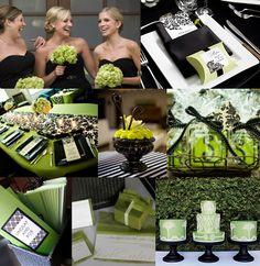 Those cakes.Black & Lime green wedding! (: