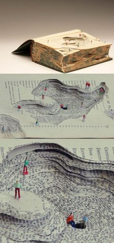 This book sculpture created geological changes, each pages of the book shows the depth on the surface of the earth. Next to some of the figures are chatting. Maybe they are geologists. Paper Book, Paper Art, Cut Paper, Art Altéré, Book Crafts, Paper Crafts, Instalation Art, Altered Book Art, Art Et Illustration